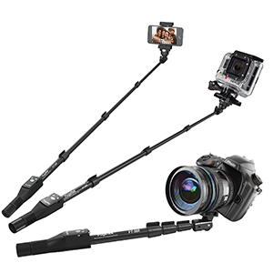 "Fugetek Pro Handheld Selfie Stick Extends To 49"" - Wireless Bluetooth Shutter - iPhone GoPro Android"
